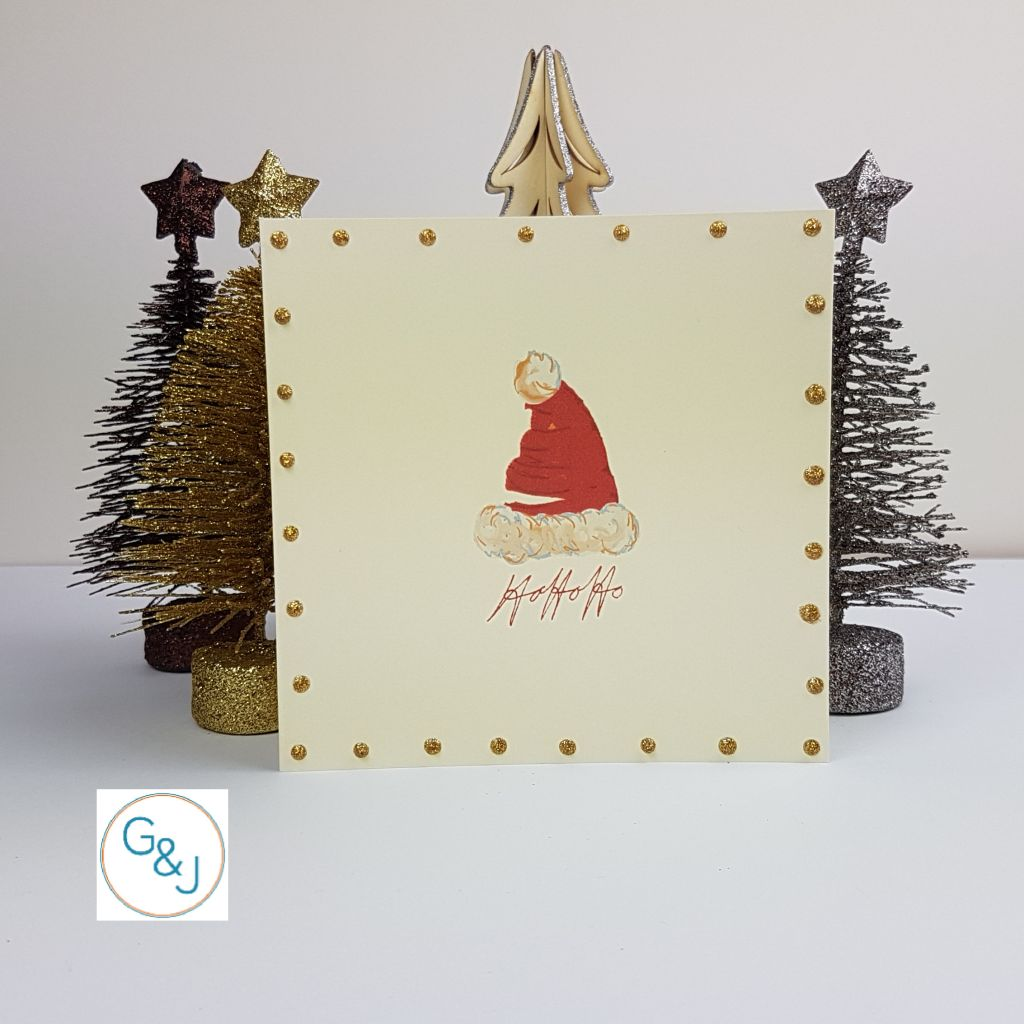 Old fashioned Santa Hat Christmas Card -Greetings and Jot