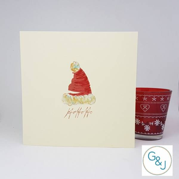 Santa Hat Christmas Card -Greeting and Jot