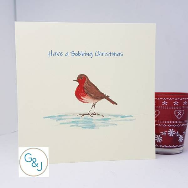 Robin and Santa hat Christmas Card set -Greetings and Jot