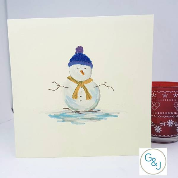 Snowman Christmas card - Greetings and Jot