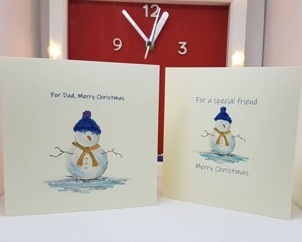 Medium Snowman personalised Christmas cards -Greetings and Jot