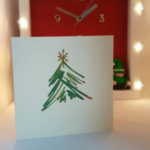 The Star on the Tree Christmas Card - Greetings and Jot
