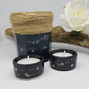 Black clay tealights- gold leaf -Greetings and Jot