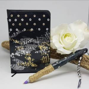Black clay covered notebook -silver and gold leaf -Greetings and Jot