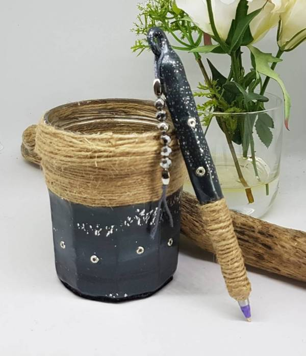 Black jar and pen set -Greetings and Jot