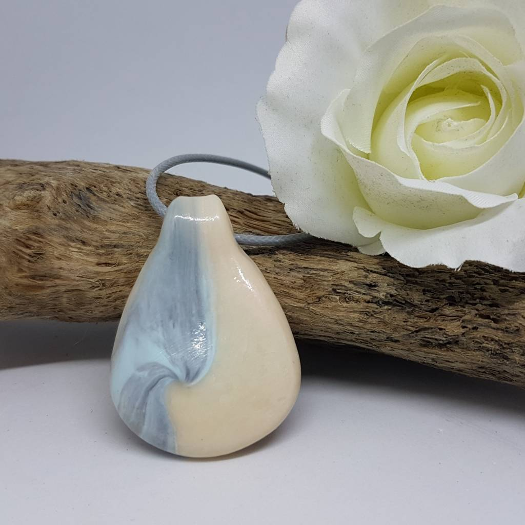 Pure white blue swirl pendant -Greetings and Jot