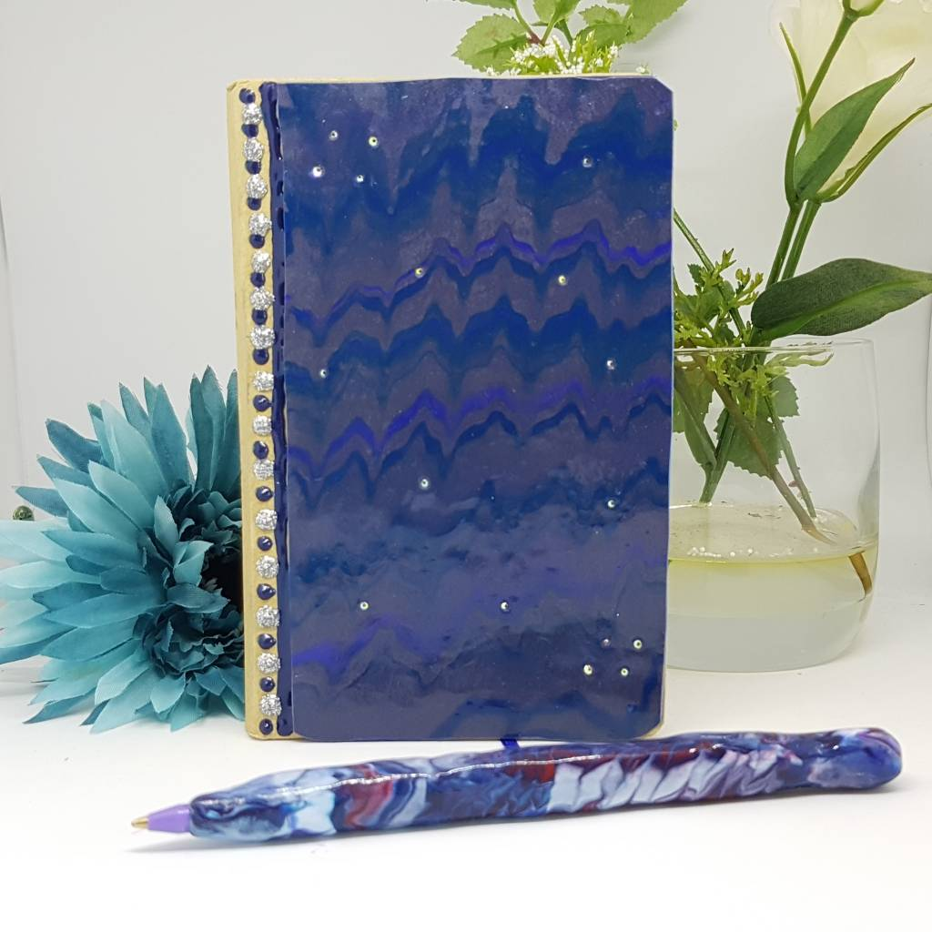 Marble Effect notebook and Pen -Greetings and Jot