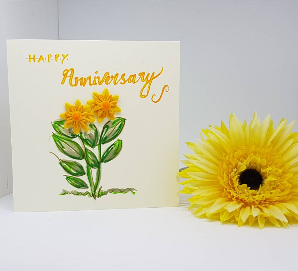 Happy Anniversary Sunflower Card- Greetings and Jot