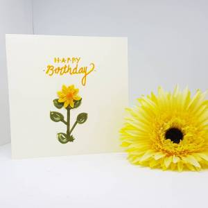 Happy Birthday single sunflower card -Greetings and Jot