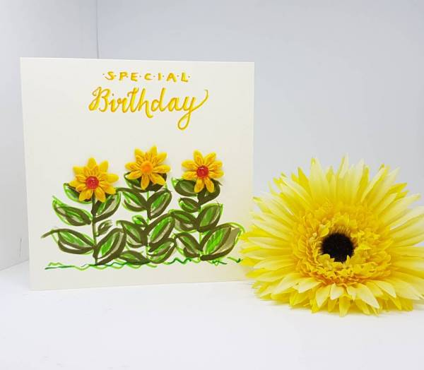 Special Birthday Sunflower Card- Greetings and Jot