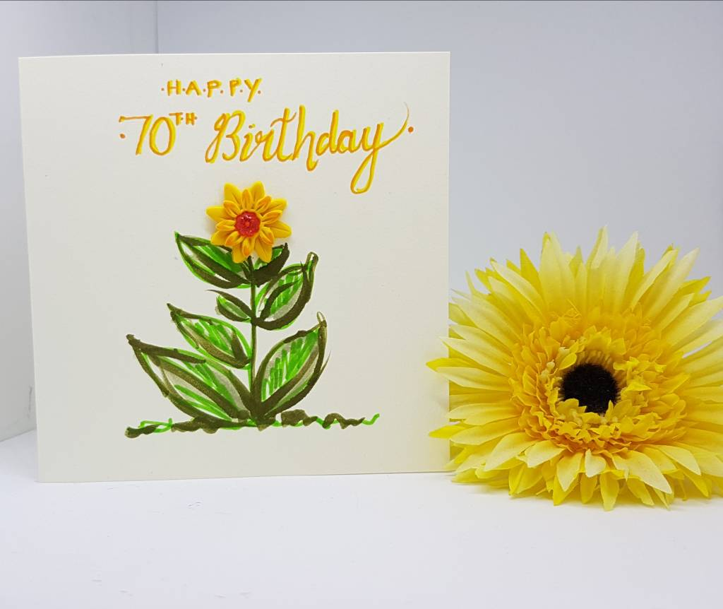 Happy 70th Birthday Sunflower Card- Greetings and Jot
