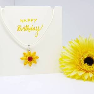 Happy Birthday Sunflower necklace card - Greetings and Jot