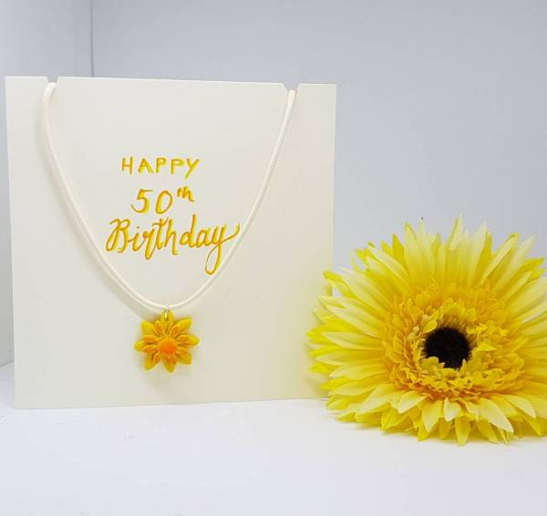 Happy 50th birthday necklace Sunflower necklace card- Greetings and Jot