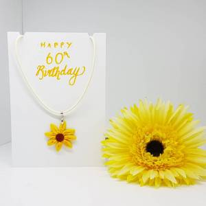 Happy 60th birthday Sunflower necklace card