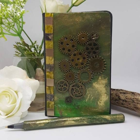 Steampunk style notebook and Pen set- Greetings and Jot