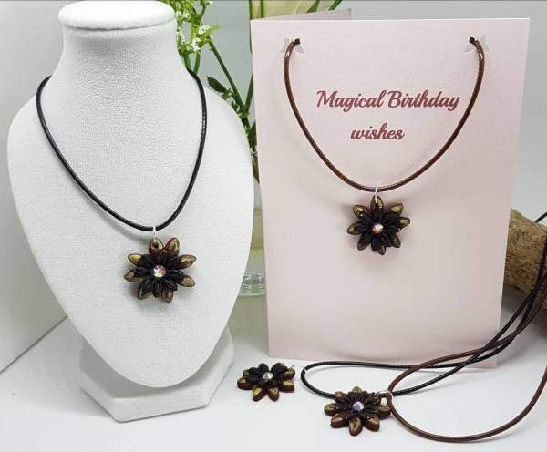 Burnt Sunflower Necklace Card- Magical Birthday -Greetings and Jot