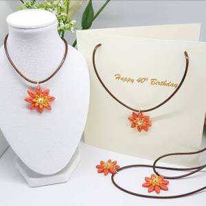 Coral Flower Greetings cards-Summer flowers necklace card Greetings and Jot