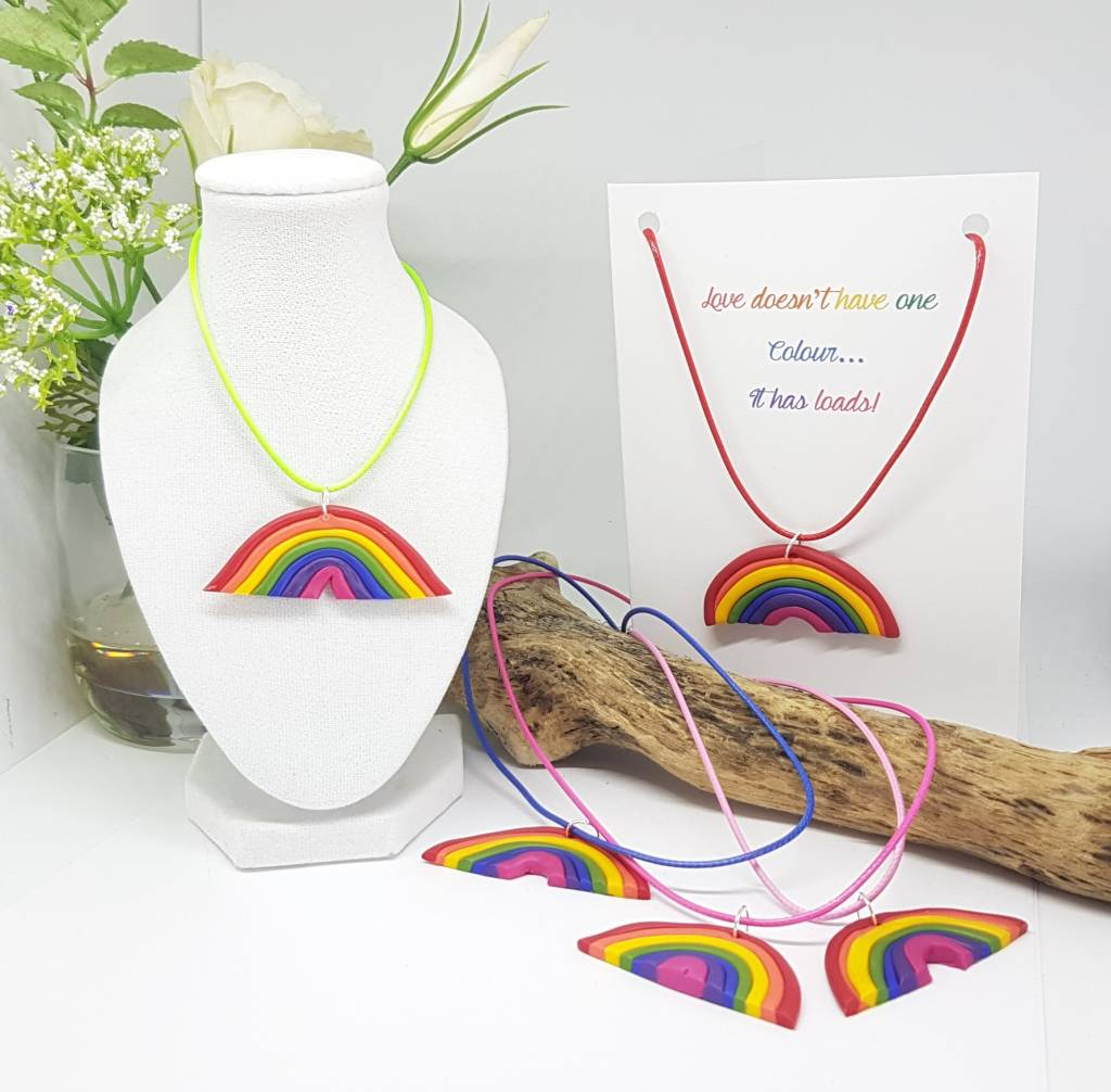 Love doesn't have one colour rainbow necklace card - Greetings and Jot