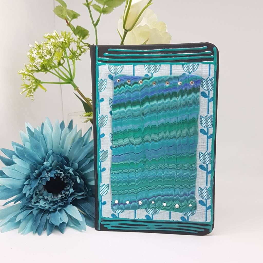 Ocean Waves decorated notebook - Aqua colours notepad-Greetings and Jot